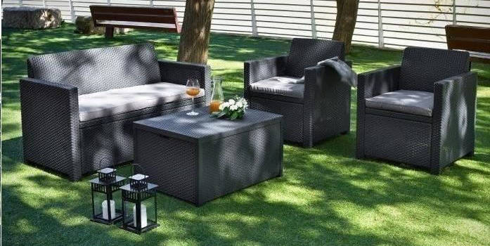 Salon de jardin poly rotin par Allibert